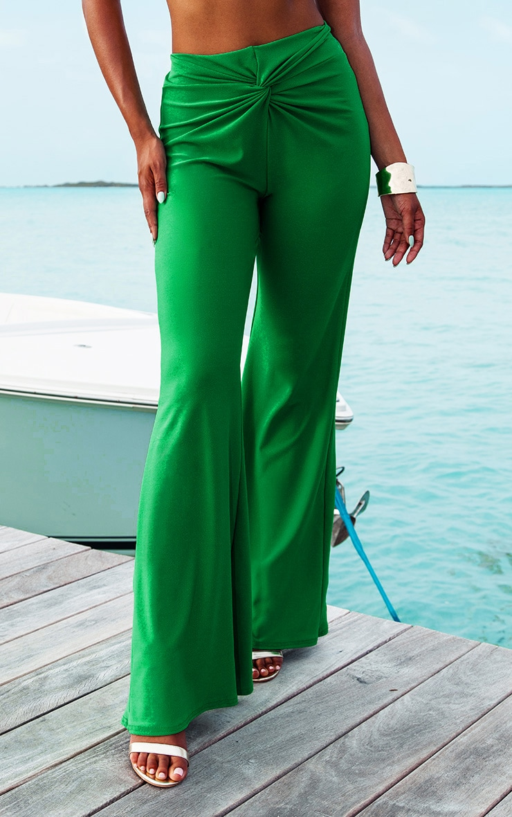 Green Knot Front Flared Pants 2