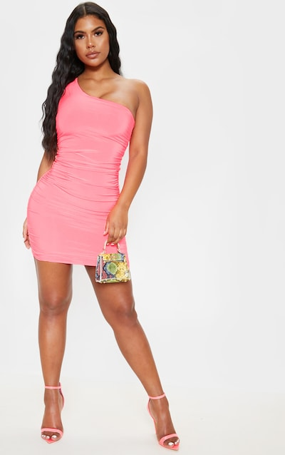 7b0b7e4f49 Neon Pink Slinky One Shoulder Ruched Bodycon Dress