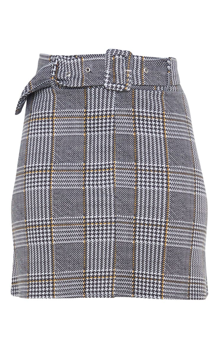 Grey Check Belted Mini Skirt 3