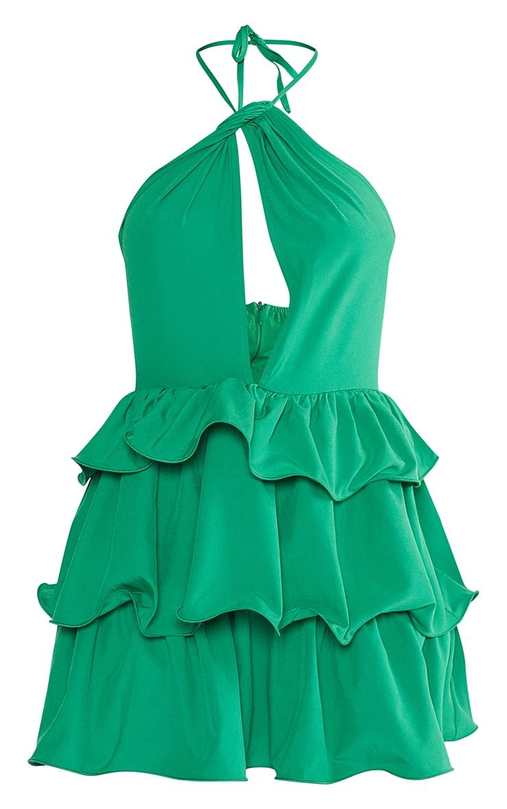 Bright Green Printed Tiered Skirt Halterneck Skater Dress 5