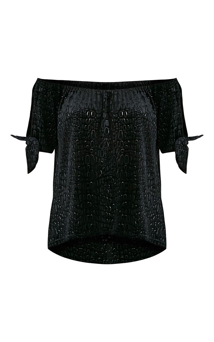 Jova Black Crushed Velvet Jacquard Tie Sleeve Top 3