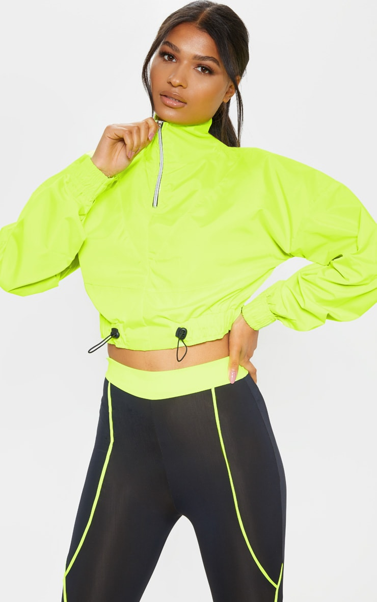 Neon Yellow Crop Windbreaker by Prettylittlething