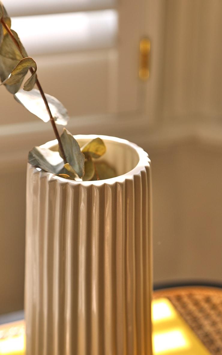 Cream Ribbed Glazed Ceramic Vase 5