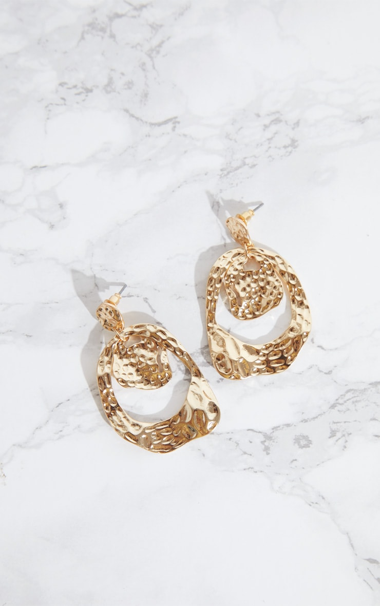 Gold Hammered Drop Earrings 3