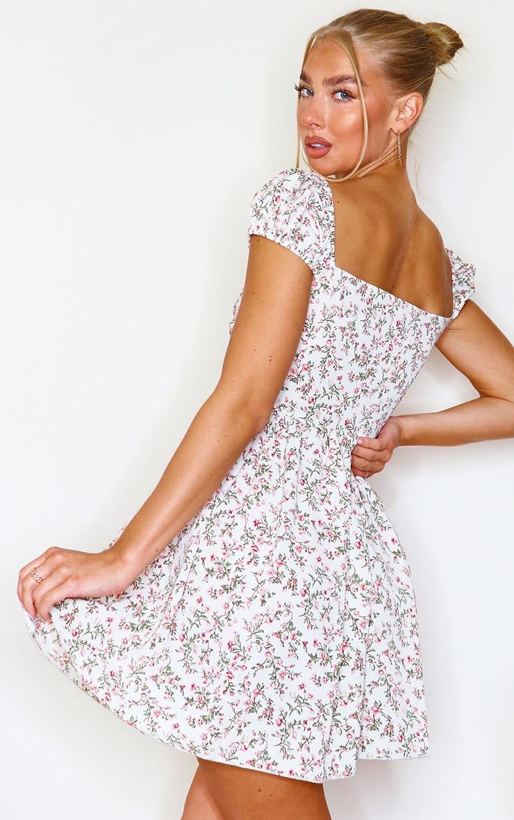 Beige Ditsy Floral Corset Detail Tea Dress 2