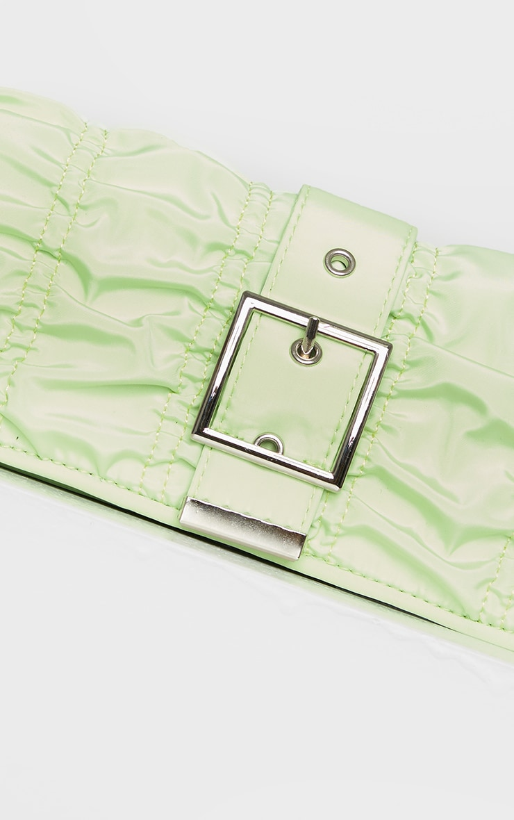 Lime Ruched Silver Buckle Shoulder Bag 3