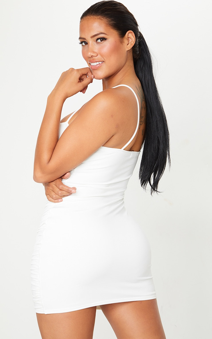 Shape Cream Slinky Extreme Ruched Bodycon Dress 2
