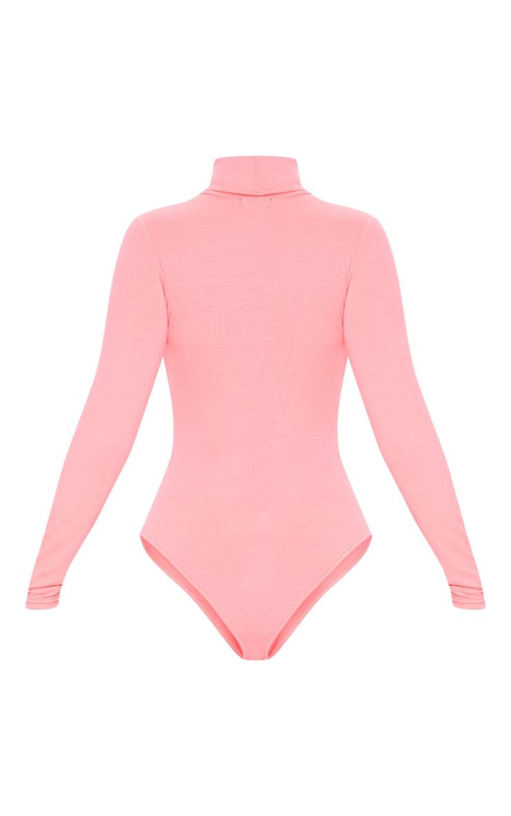 Neon Pink Roll Neck Long Sleeve Bodysuit 4