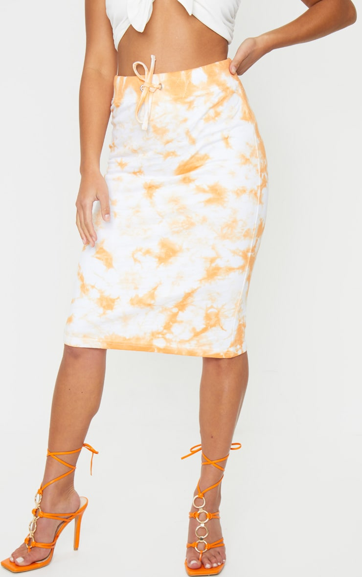 Petite Orange Tie Dye Sweat Midi Skirt 2