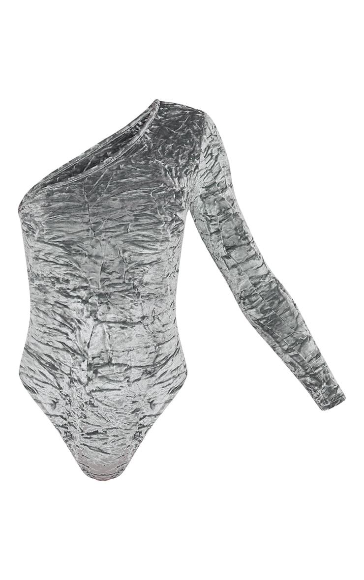 Maisy Grey Crushed Velvet One Shoulder Thong Bodysuit 3