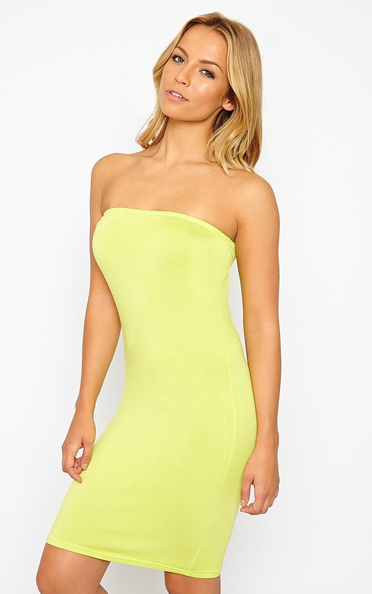Basic Lime Bandeau Jersey Mini Dress 4