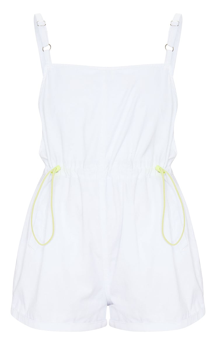 White And Neon Toggle Waist Square Neck Playsuit 5