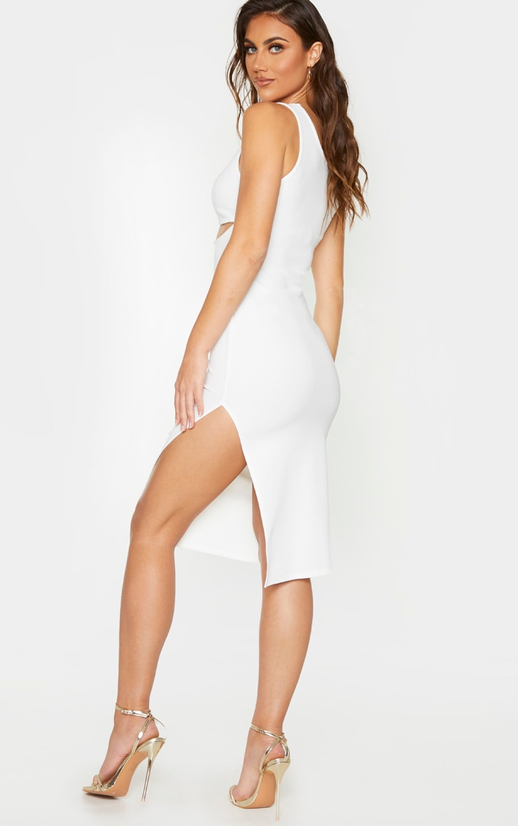 White Bandage Rib Cut Out Corset Detail Sleeveless Midi Dress 2