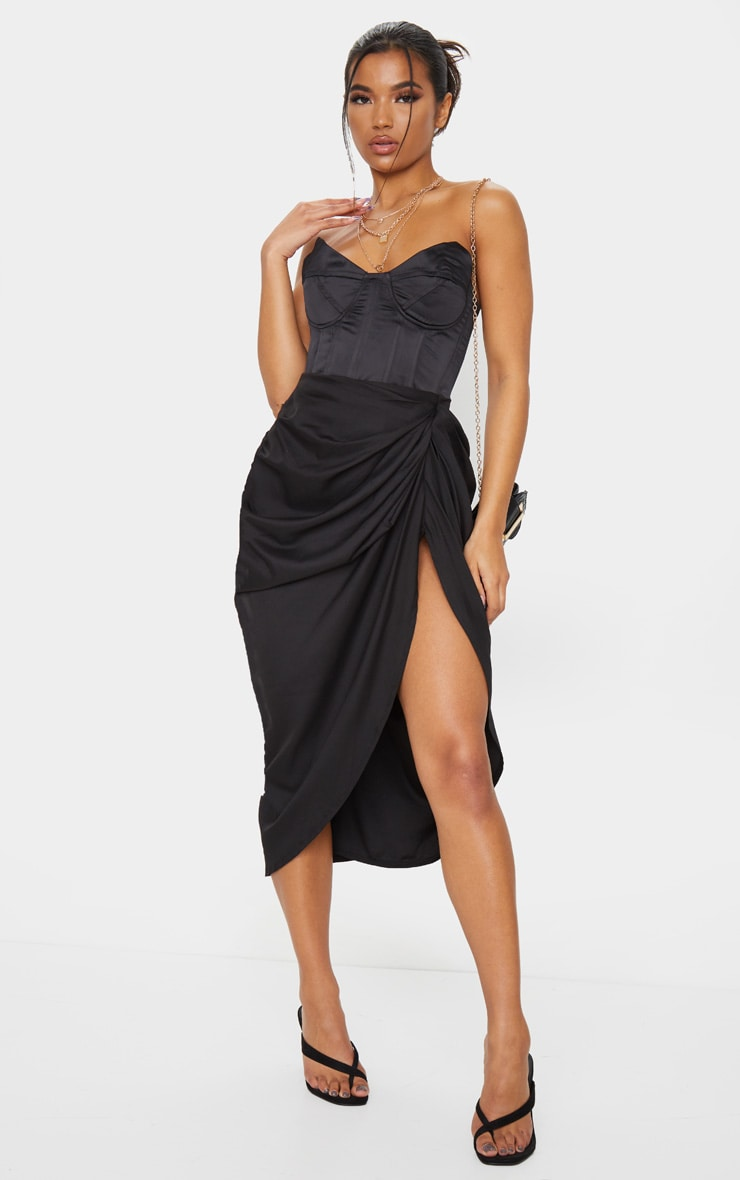 Black Ruched Side Midi Skirt 1