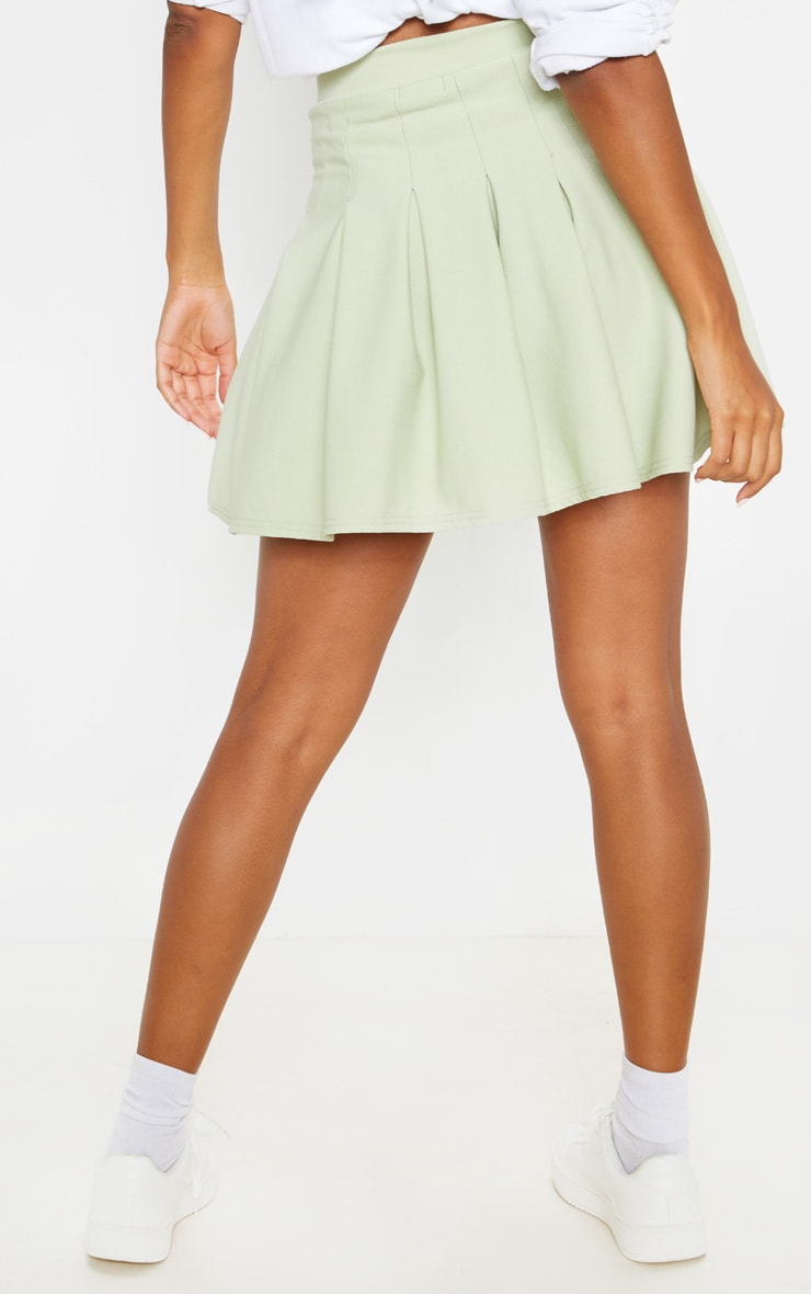 Sage Khaki Pleated Side Split Tennis Skirt 4