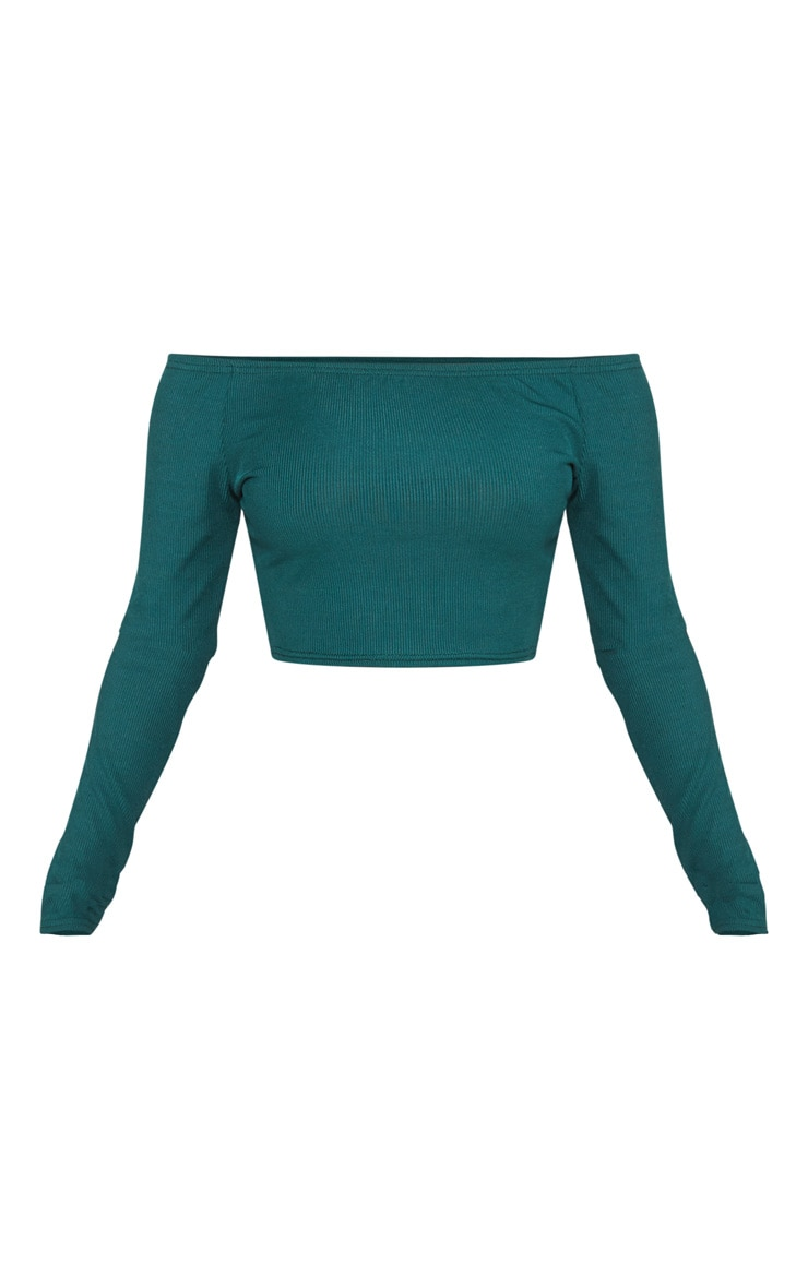 Shape Emerald Green Ribbed Bardot Long Sleeve Crop Top 3