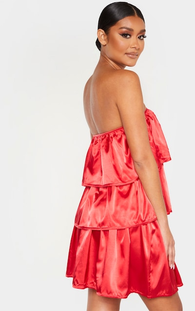 Red Satin Tiered Bandeau Shift Dress