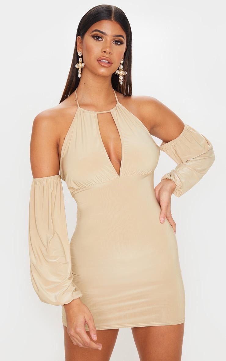 Stone Slinky Halterneck Bardot Bodycon Dress 1