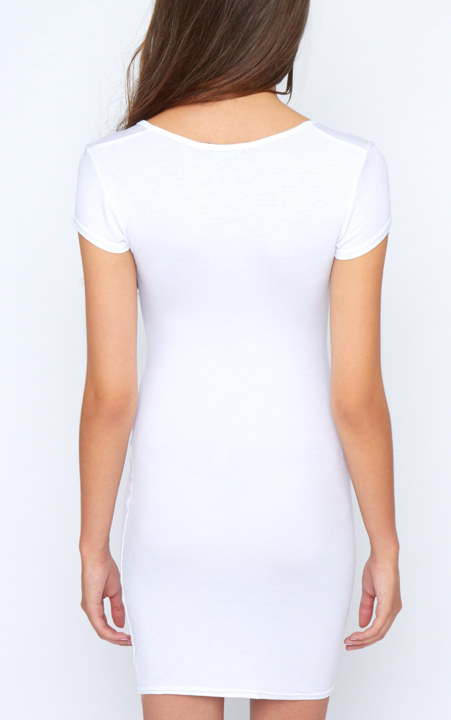 Finola White Jersey V Neck Dress 2