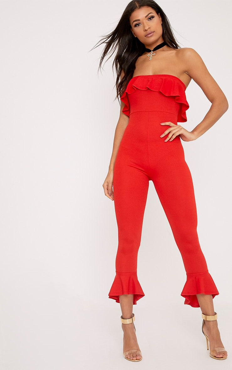 Adalia Red Bardot Frill Hem Leg Jumpsuit 1