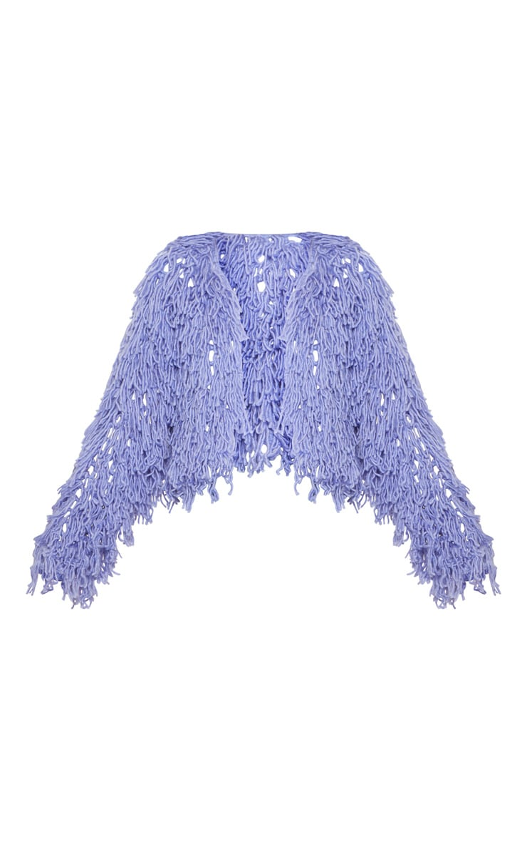 Lilac Shaggy Knit Cropped Cardigan 3