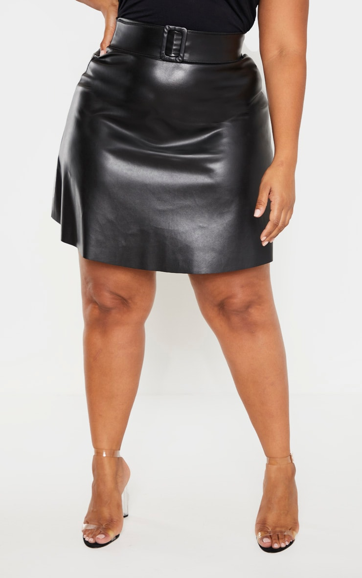 Plus Black Faux Leather Belted Skater Skirt  2