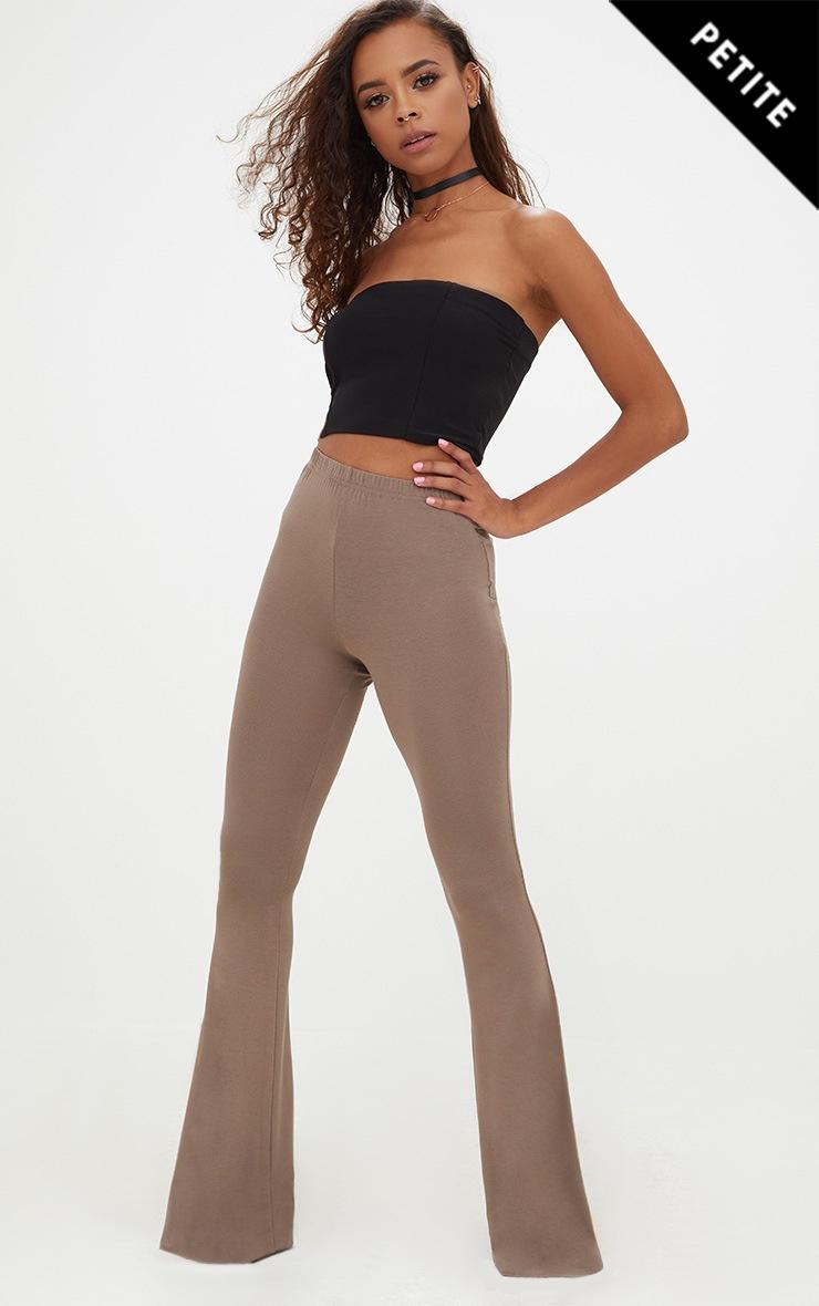 Petite Mocha Basic Flare Leg Trousers 1