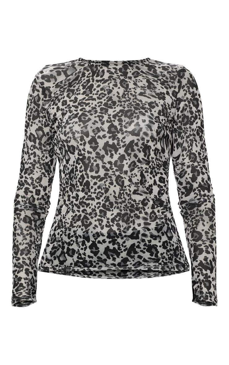 Grey Mesh Leopard Print Long Sleeve Top 3