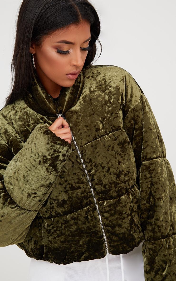 Khaki Velvet Cropped Puffer Coat 5