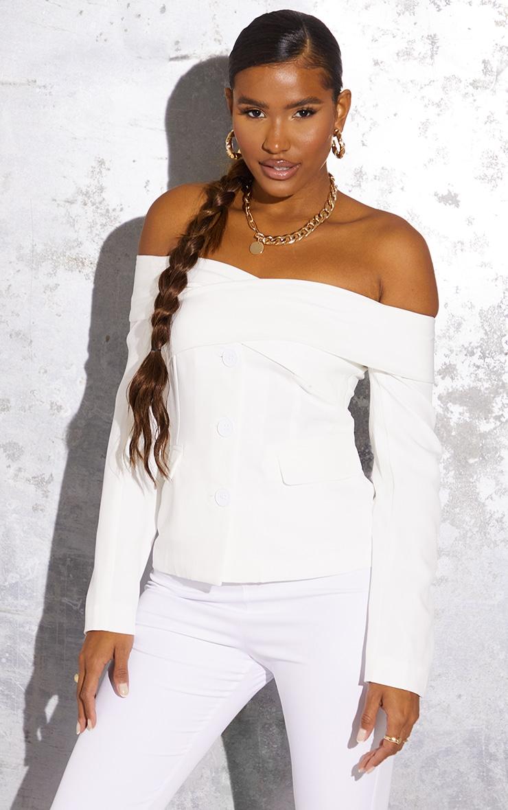White Off The Shoulder Bardot Blazer 1