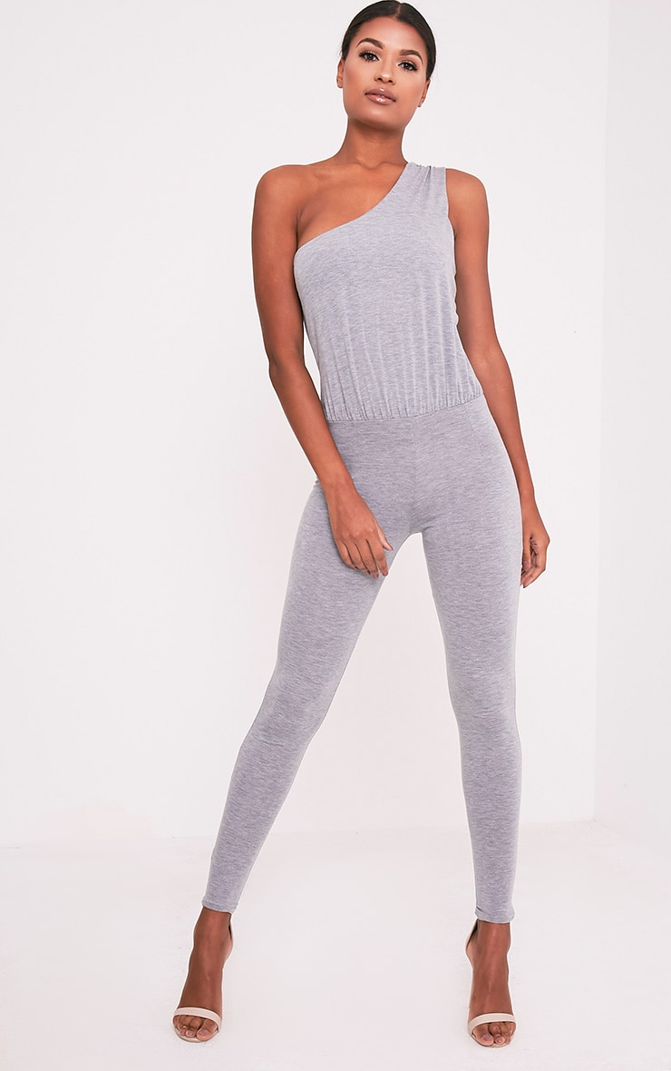 Jess Grey One Shoulder Jersey Jumpsuit 1