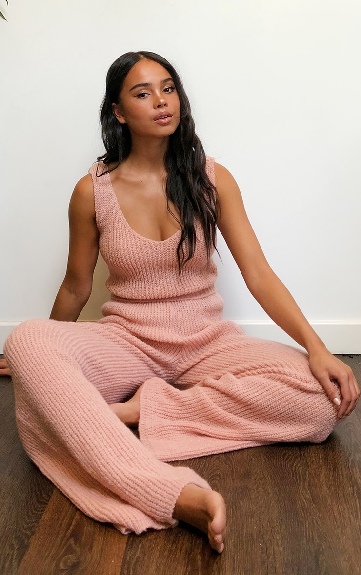 Blush Cosy Knitted Bralet And Wide Leg Set 1