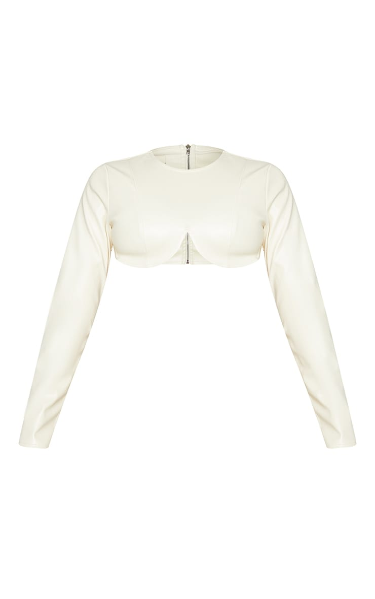 Cream PU Wired Underbust Long Sleeve Crop Top 6