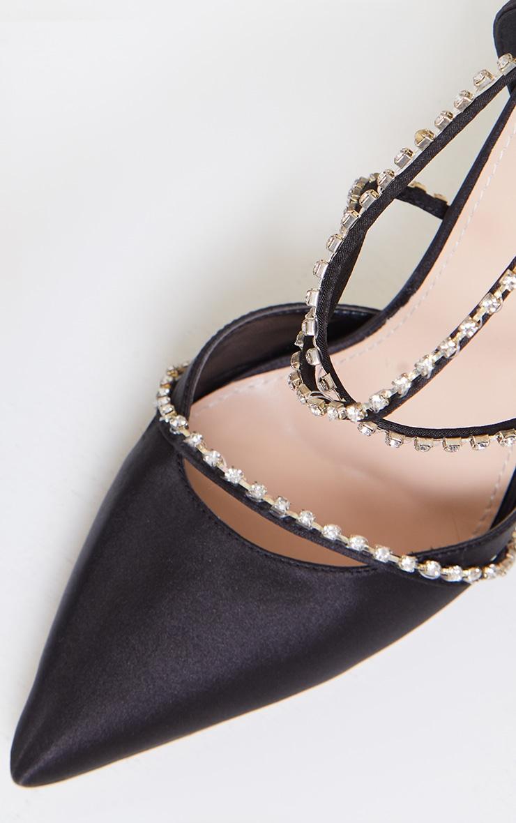 Black Satin Pointed Diamante Cross Over Court Heels 4