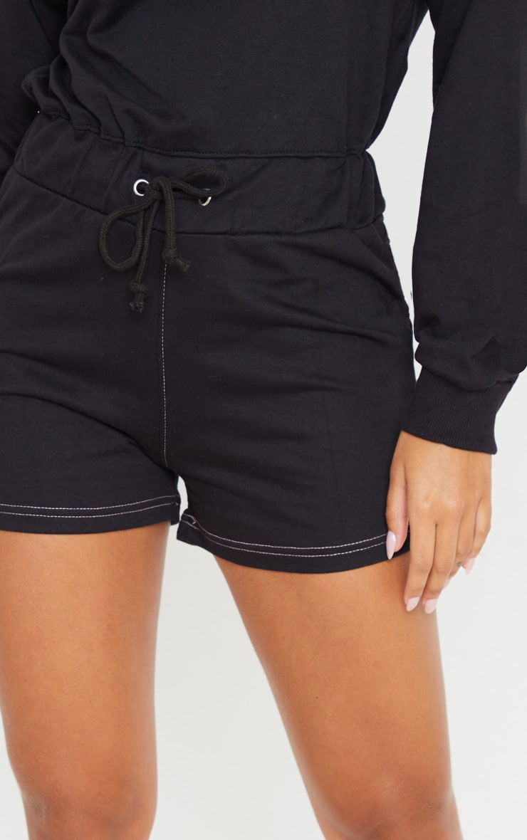 Combishort en sweat noir à manches longues et coutures contrastantes 5