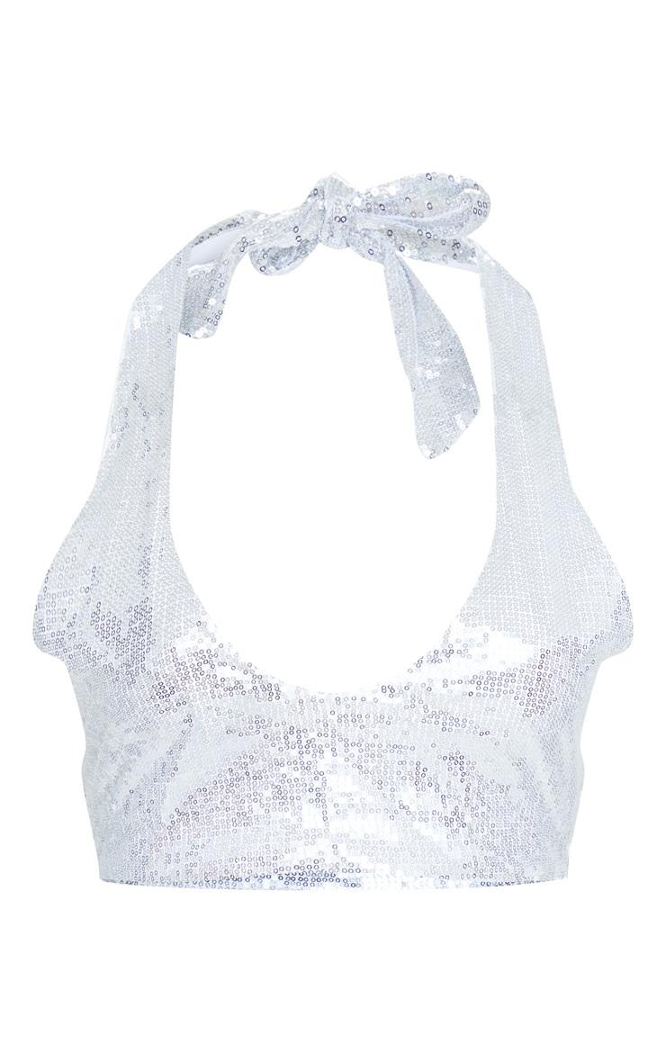 Plus Silver Sequin Halterneck Bikini Top 5