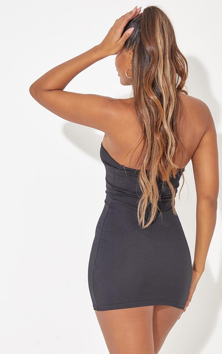 Black Ribbed Asymmetric Neck Detail Bodycon Dress 2
