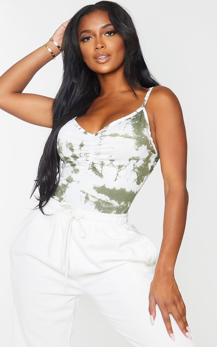 Shape Khaki Tie Dye Jersey Ruched Front Strappy Bodysuit 2