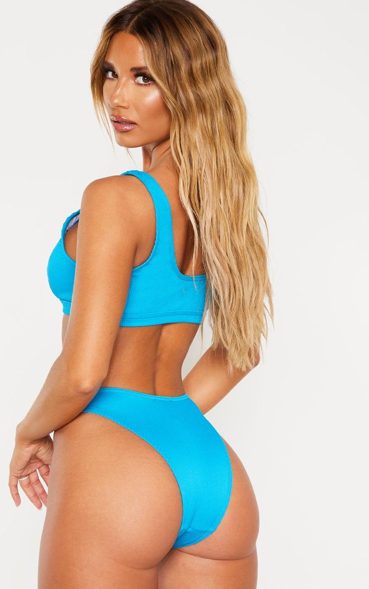 Turquoise Ribbed Cut Out Bikini Top 2