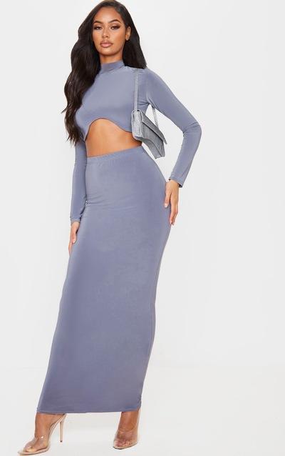 Lead Grey Slinky Midaxi Skirt