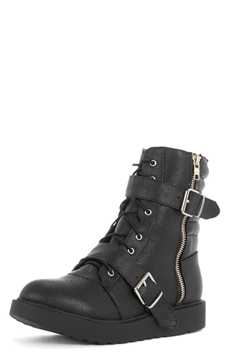Aby Black Double Buckle Biker Boot  4