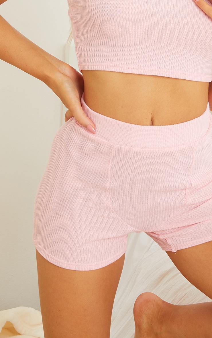 Pink Waffle Mix And Match Boxer Seam PJ Shorts 5
