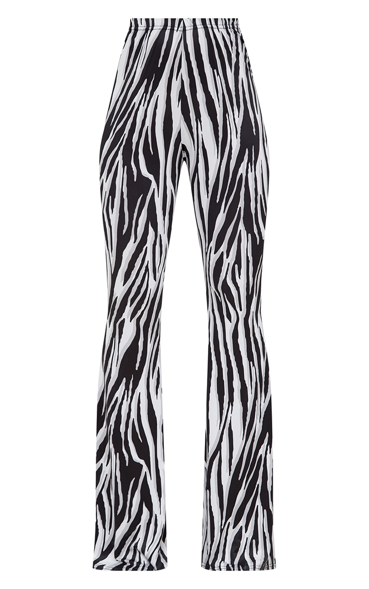 White Zebra Slinky Flared Trousers 3