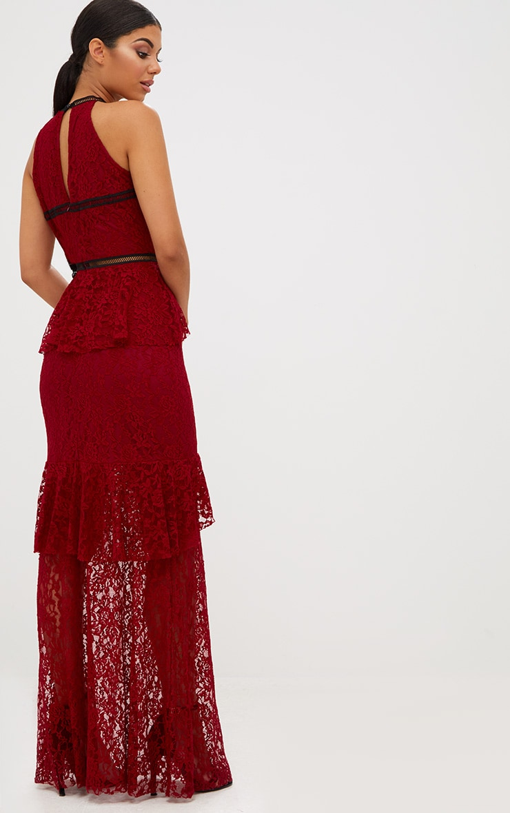 Burgundy Lace Ruffle Detail Plunge Maxi Dress 3