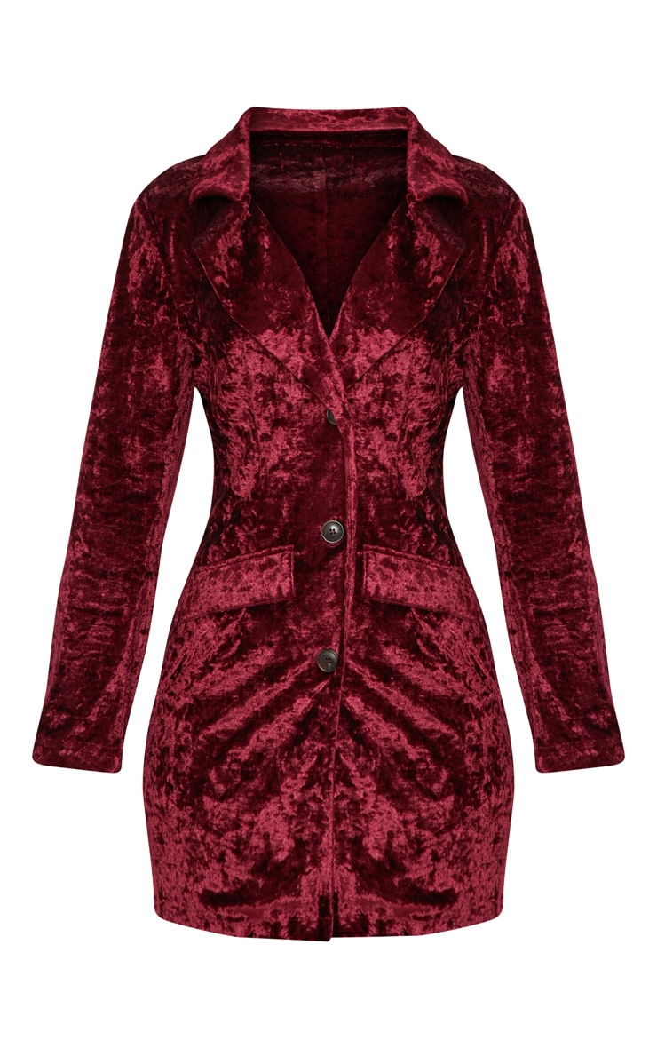 Burgundy Crushed Velvet Blazer Dress 3