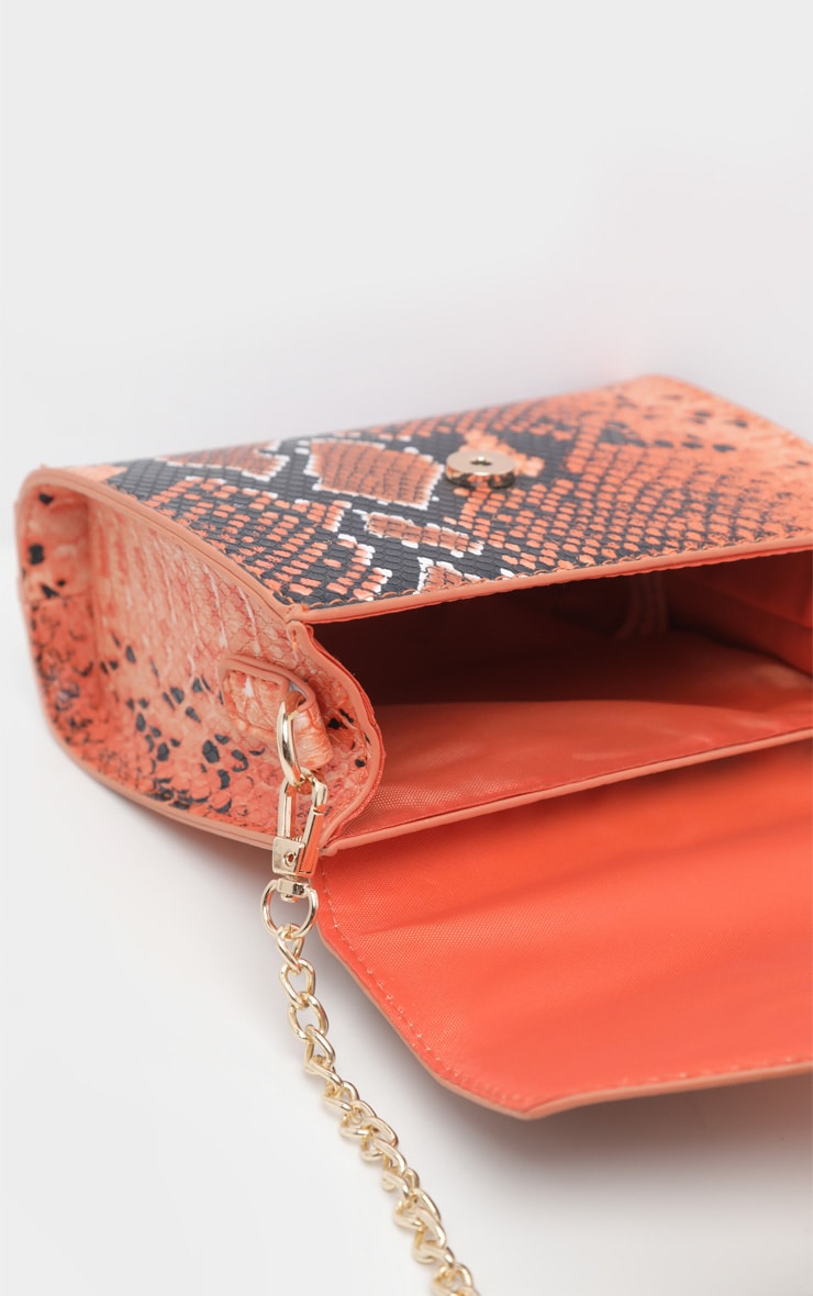 Orange Snake Envelope Mini Cross Body Bag  4