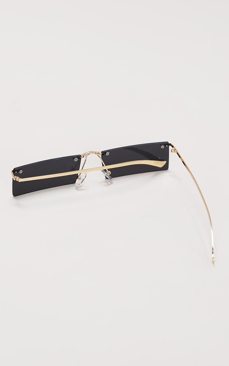 Black Gold Trim Square Lens Sunglasses 5