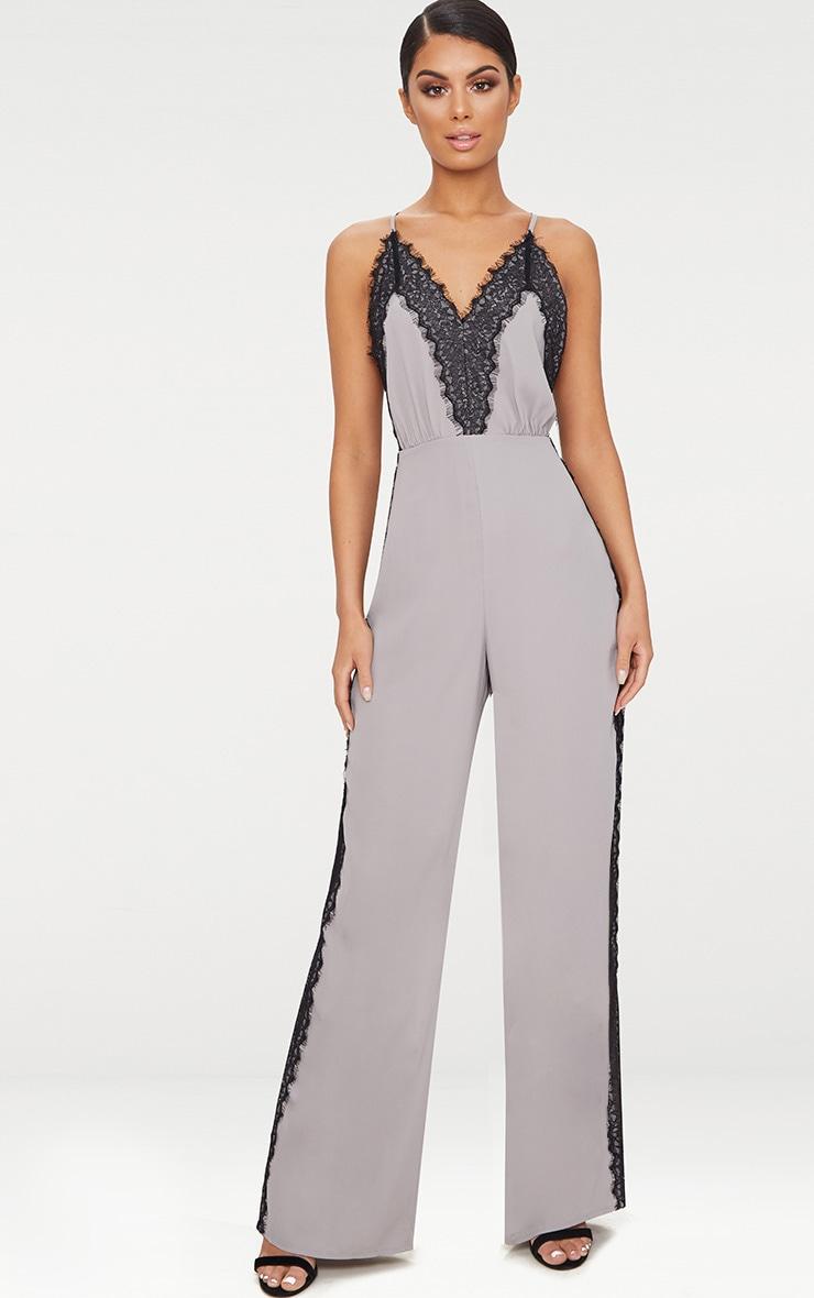Grey Contrast Lace Trim Jumpsuit 1