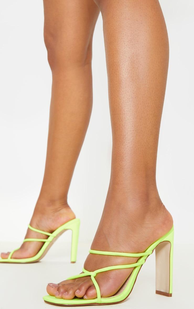 Lime Flat Heel Tube Strappy Mule Sandal 1