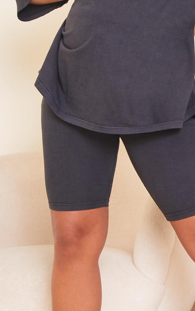 Maternity Acid Wash Grey Bump Support Cotton Cycle Shorts 5